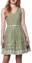 Yumi Embroidered Hem Dress, Green