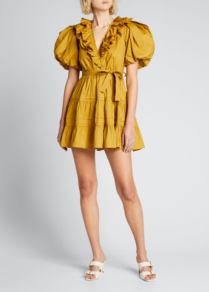 Ulla Johnson Maude Puff-Sleeve Ruffle Wrap Dress