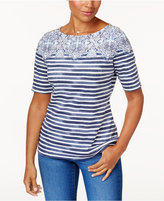 Karen Scott Mixed-Print Button-Detail T-Shirt, Created for Macy's
