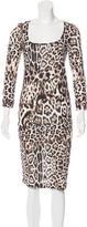 Just Cavalli Leopard Print Midi Dress