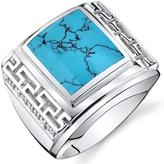 Ice Men's Simulated Turquoise Sterling Silver Chunky Greek Key Fashion Ring