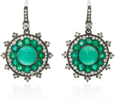 Nam Cho 18K White Gold Emerald and Diamond Earrings