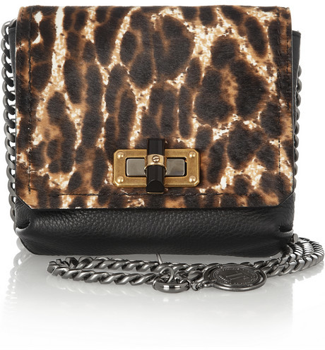 Lanvin The Happy Mini Pop calf hair and leather shoulder bag