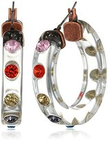 "Betsey Johnson Confetti"" Mixed Multi-Colored Faceted Stone Lucite Hoop Earrings"