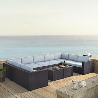 Seaton Sol 72 Outdoor 7 Piece Rattan Sectional Seating Group with Cushions Sol 72 Outdoor Fabric: Mist