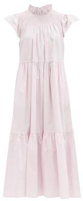 Sea Marlene Shirred-yoke Cotton-blend Poplin Dress - Light Pink