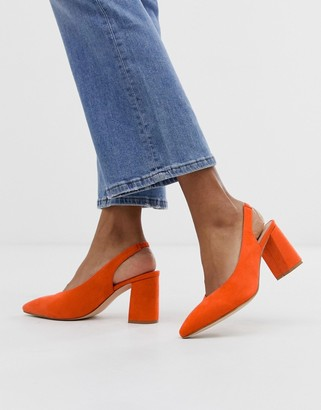 Glamorous bright orange block heeled sling back shoes