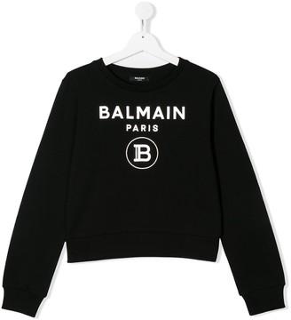 Balmain Kids TEEN logo-print sweatshirt