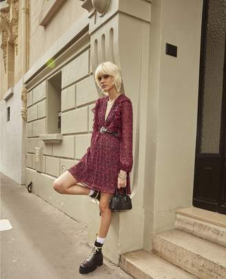 The Kooples Short printed pink dress with pleated skirt