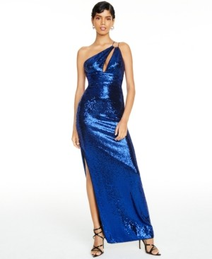 Aidan Mattox One-Shoulder Sequin Gown