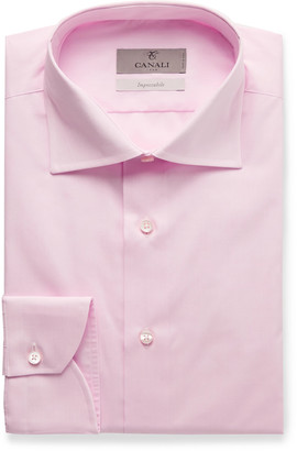 Canali Pink Cutaway-Collar Cotton-Poplin Shirt