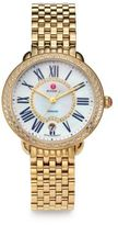 Michele Serein 16 Diamond, Mother-Of-Pearl & 18K Goldplated Stainless Steel Bracelet Watch