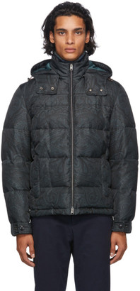 Etro Black and Grey Paisley Puffer Jacket
