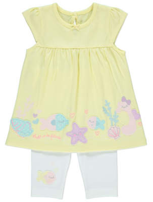 George Embroidered Dress and Leggings Outfit