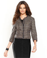 INC International Concepts Jacket, Three-Quarter-Sleeve Cropped Tweed