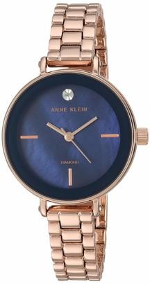 Anne Klein Women's AK/3386NMRG Diamond-Accented Rose Gold-Tone Bracelet Watch