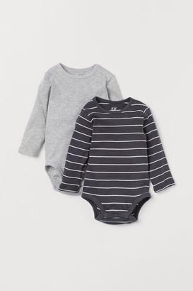 H&M 2-pack Long-sleeved Bodysuits - Gray