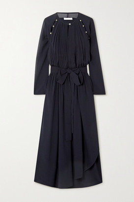 Chloé Button-detailed Silk-crepe Midi Dress - Navy