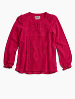 Lucky Brand Emb Front Blouse