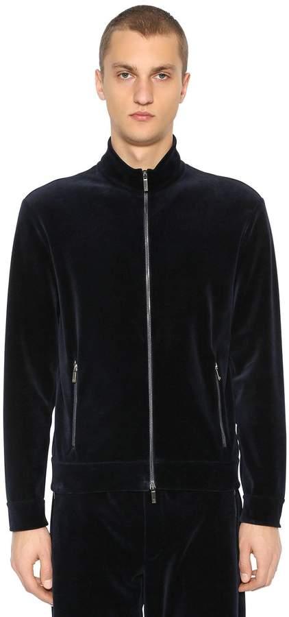 Giorgio Armani Zip-Up Cotton Velvet Sweatshirt