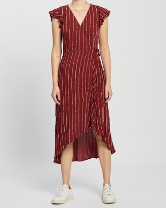Abercrombie & Fitch Wrap Ruffle Hem Midi Dress