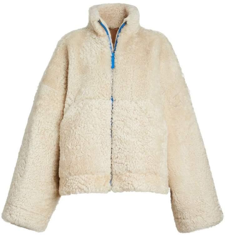 Burberry Contrast Zip Shearling Funnel-neck Jacket