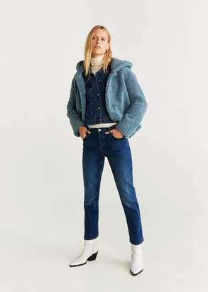 MANGO Hooded faux shearling jacket