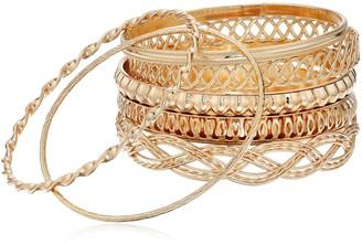 "GUESS Basic"" Gold 7 Piece Mixed Bangle Bracelet"