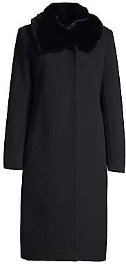 Cinzia Rocca Women's Icon Rabbit Fur Collar Wool Coat