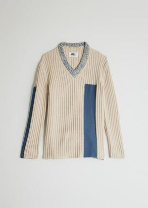 MM6 MAISON MARGIELA Women's V-Neck Sweater in Cream, Size Small | Cotton/Wool/Acrylic