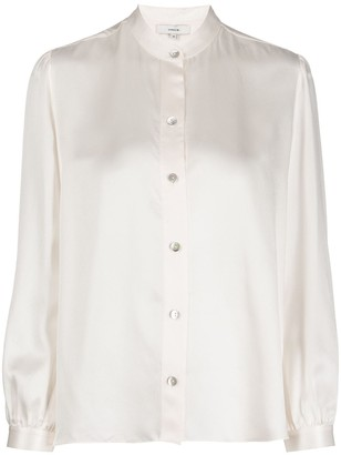 Vince Silk Mandarin Collar Shirt