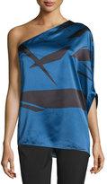 Halston One-Shoulder Flowy Asymmetric Top, Ultramarine Abstract