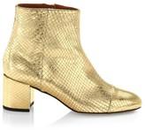 Paris Texas Atlanta Metallic Snakeskin-Embossed Leather Ankle Boots