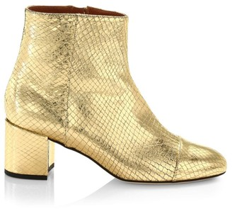 Paris Texas Metallic Snakeskin-Embossed Leather Ankle Boots