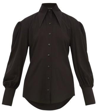 Elzinga - Point Collar Cotton Blouse - Womens - Black