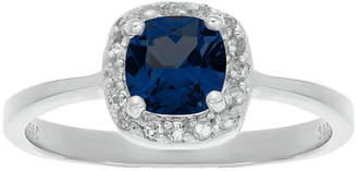 FINE JEWELRY Cushion-Cut Lab-Created Sapphire and Genuine White Topaz Sterling Silver Ring