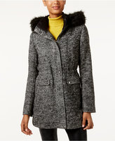 Laundry by Design Wool-Blend Faux-Fur-Trim Walker Coat
