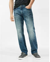 Express loose straight medium wash stretch jeans