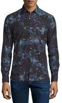 Burberry Alden Multi Camo-Print Sport Shirt, Stone Blue