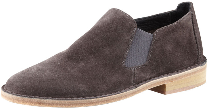 Vince Mia Gored Suede Flat Slip-On, Charcoal Gray