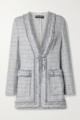 Dolce & Gabbana - Embellished Frayed Metallic Tweed Jacket - Gray