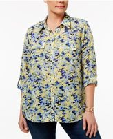 NY Collection Plus Size Printed Windowpane Blouse