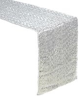 "AMAZLINEN(TM) Premium Quality Silver Glitz Sequin Table Runner-14""108"" (Silver)"