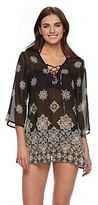 Porto Cruz Women's Portocruz Floral Lace-Up Chiffon Cover-Up