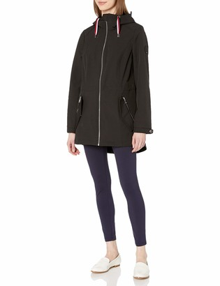 Tommy Hilfiger Women's Sporty Zip Front Hooded Soft Shell Rain Jacket