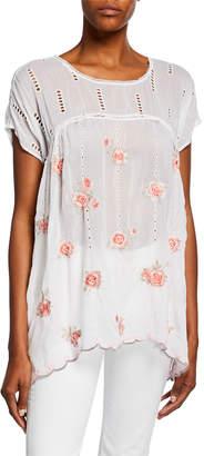 Johnny Was Rose Floral Embroidered Dolman Top w/ Eyelet Details