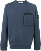 Stone Island Blue Zip Pocket Sweatshirt - men - Cotton - XXL