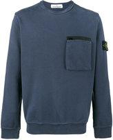 Stone Island Blue Zip Pocket Sweatshirt