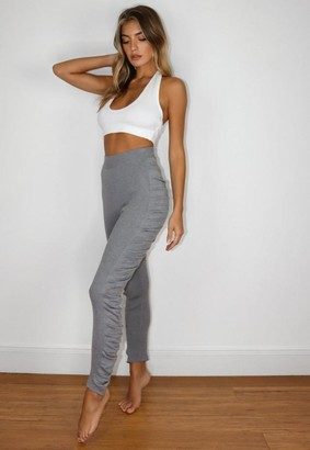 Missguided Gray Rib Knit Ruched Leggings