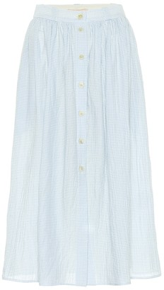Brock Collection Exclusive to Mytheresa Olivo gingham cotton midi skirt